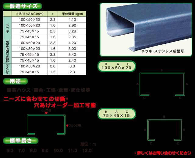 リップ溝形鋼(C型鋼)